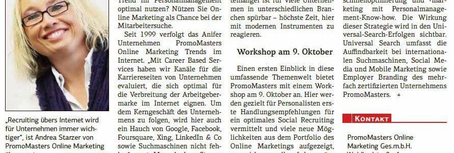 Artikel in der Salzburger Wirtschaft mit Andrea Starzer Arbeitgebermarke sucht Reichweite im September 2013