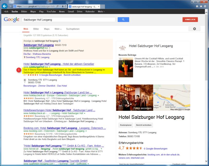 Description Meta Tags von Salzburger Hof Leogang bei Google