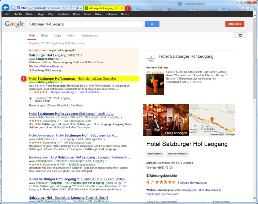 Title Meta Tags von Salzburger Hof Leogang bei Google