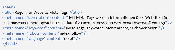 Regeln für Website Meta Tags