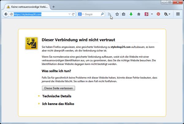 Fehlerhafte SSL Verbindung im Firefox Browser