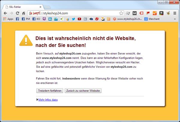 Fehlerhafte SSL Verbindung im Google Chrome Browser