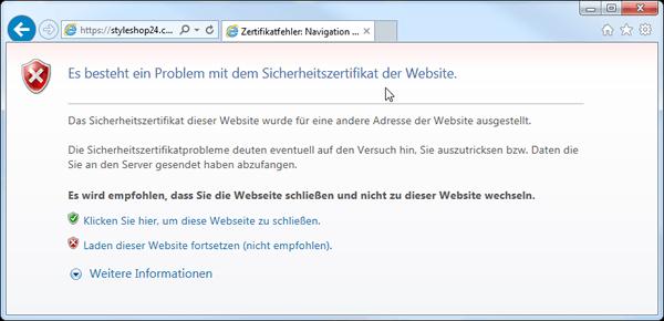Fehlerhafte SSL Verbindung im Microsoft Internet Explorer Browser