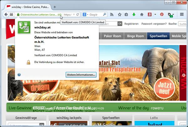 Das SSL Zertifikat von win2day ist noch sicherer da das Unternehmen auch urkundlich bestätigt wurde