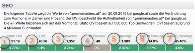 SEO-Report: Tabelle 1