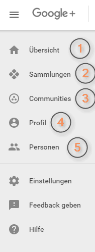 Das neue Google+ Menü