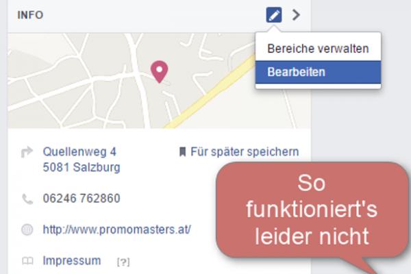 Facebook Maps - Änderung funktioniert nicht