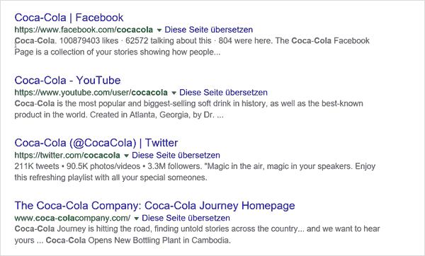 Suchresultat bei Google auf der Suche nach Coca-Cola.