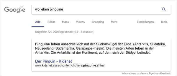 Die digitalen Assistenten reagieren auf Sprachbefehle und verstehen auch Suchanfragen in ganzen Sätzen. Conversational Search bei Google Pinguine.