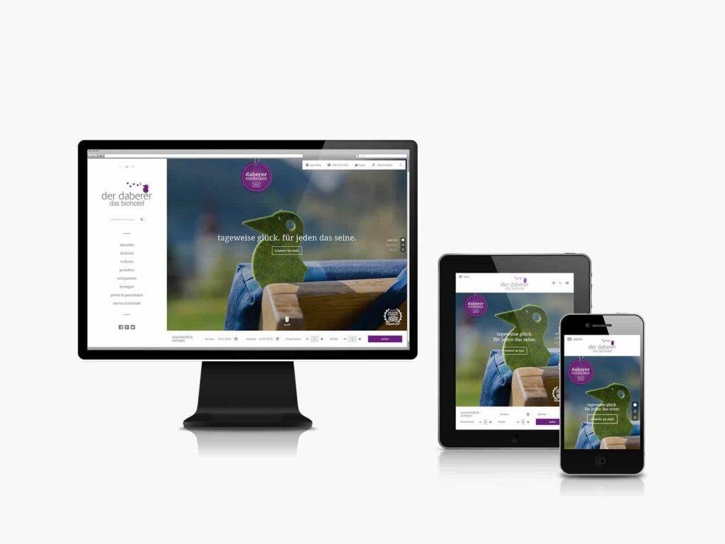 Responsive Website von www.biohotel-daberer.at welche auf PC, Tablet und Smartphone ideal dargestellt wird.