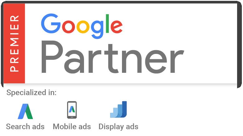 Google Premium Partner Badge für Top Agenturen die Google Ads zertifiziert sind.