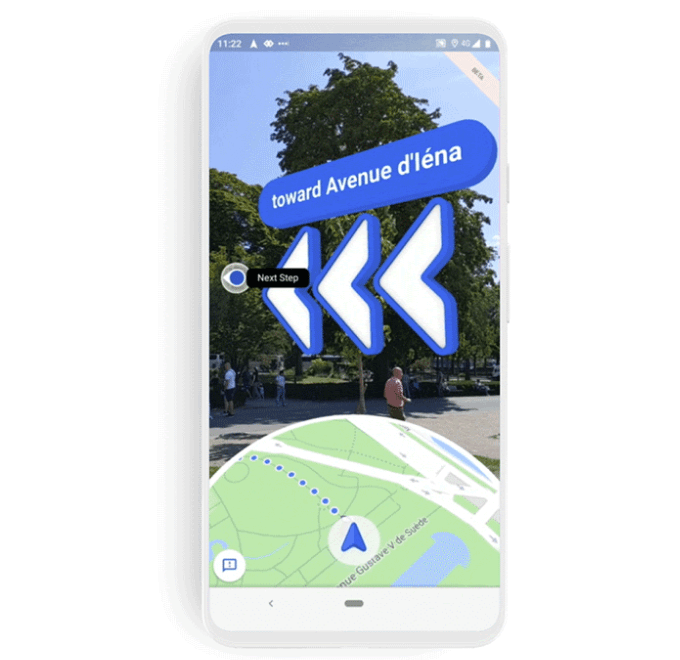 Augmented-Reality-Navigation in Google Maps