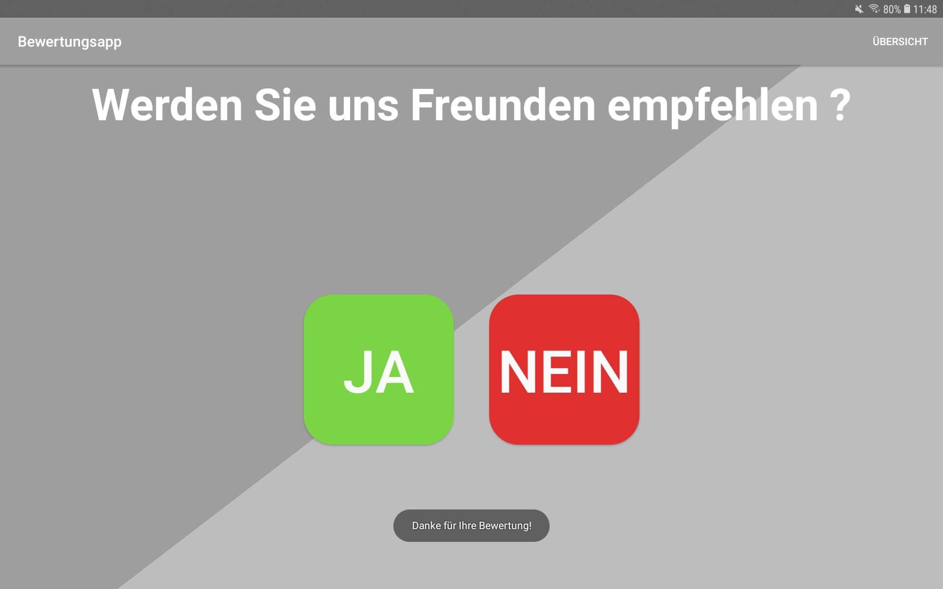 Bewertungs App zur Offline Bewertung von PromoMasters - Ja oder Nein