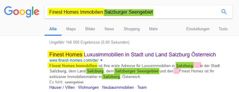 Erweiteretes SEO Meta Tags Snippet von Google